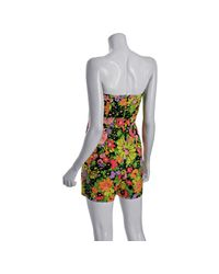 Shoshanna - Black Floral Cotton-silk Strapless Romper Shorts - Lyst