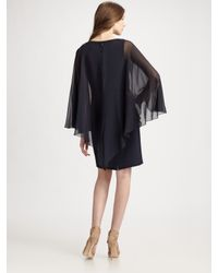 Teri Jon | Blue Necklace Cape Dress | Lyst