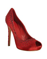 Alexander McQueen | Red Satin Crystal Appliquéd Peep Toe Pumps | Lyst