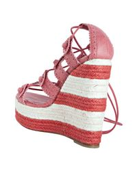 Balenciaga | Pink Grenadine Leather Lace-up Espadrille Wedges | Lyst
