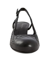 Bottega Veneta - Black Woven Calfskin Slingback Wedges - Lyst