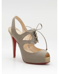 Christian Louboutin | Brown Circonvolu Cotton Canvas Peep-toe Sandals | Lyst