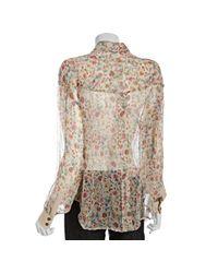 Dolce & Gabbana | Natural Ecru Floral Chiffon Blouse | Lyst