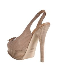 Fendi | Natural Turtledove Embossed Leather Platform Slingback Pumps | Lyst