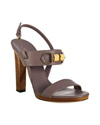 Gucci - Purple New Mauve Leather Miss Bamboo Sandals - Lyst
