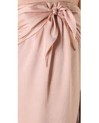 Halston - Pink Satin Silk Sarong Knot Long Dress - Lyst