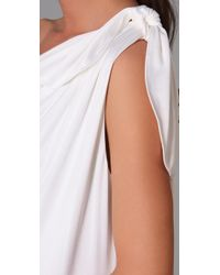 Halston | White Shoulder Knot Dress | Lyst