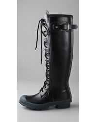 HUNTER | Watling - Black Rubber Lace Up Rain Boot | Lyst