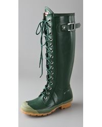 HUNTER | Green Watling Lace Up Gloss Boots | Lyst