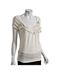 Leifsdottir | White Pale Ivory Cotton Ribbon Stacked Scoop Neck T-shirt | Lyst