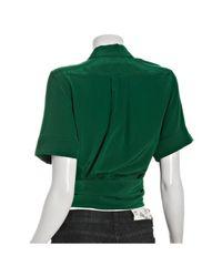 Marc By Marc Jacobs - Rich Green Crepe De Chine Silk Wrap Top - Lyst