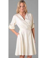 MILLY - White Natalia Wrap Dress - Lyst