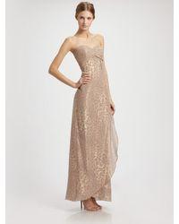 Nicole Miller | Pink Strapless Leopard Print Chiffon Gown | Lyst