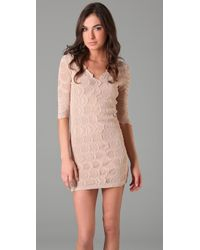 Nightcap - Natural Deep V Victorian Lace Dress - Lyst