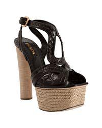 Prada - Black Stitched Shined Leather Platform Sandals - Lyst