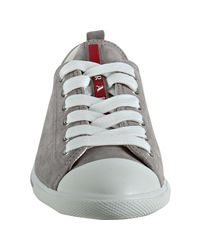Prada - Gray Sport Cloud Grey Suede Cap Toe Sneakers - Lyst