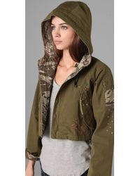 PRPS | Green Cropped Military Jacket with Embroidery | Lyst