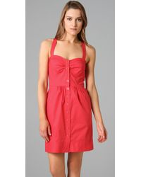 Shoshanna | Red Button Front Sheath Dress | Lyst