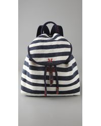 Splendid | Blue Striped Canvas Backpack | Lyst