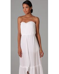 Thread Social | White Strapless Gown with Tap Shorts | Lyst