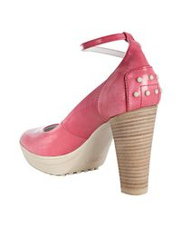 Tod's   Pink Fuchsia Leather Aspen Decollete Ankle Strap Platform Pumps   Lyst