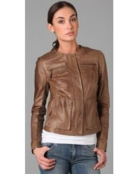 Vince - Brown Crew Neck Leather Jacket - Lyst
