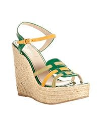 Saint Laurent | Green Shamrock Patent Leather Agadir 90 Wedges | Lyst