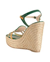 Saint Laurent - Green Shamrock Patent Leather Agadir 90 Wedges - Lyst