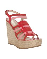 Saint Laurent | Red and Pink Leather Agadir 90 Wedges | Lyst
