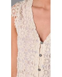 Alice + Olivia - Natural Wendy Lace Blouse - Lyst
