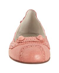 Balenciaga - Pink Old Rose Lambskin Covered Stud Flats - Lyst