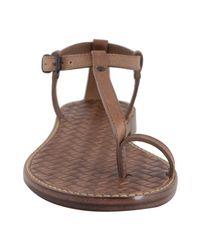 Bottega Veneta | Brown Leather Thong Flat Sandals | Lyst
