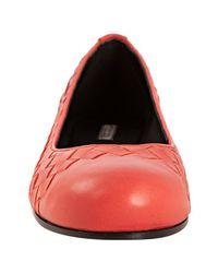 Bottega Veneta - Pink Magma Woven Calfskin Ballerina Flats - Lyst