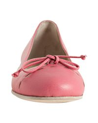 Fendi | Bright Pink Leather Bow Detail Flats | Lyst