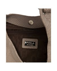 Furla - Natural Beige Snake Embossed Leather Perla Shoulder Bag - Lyst
