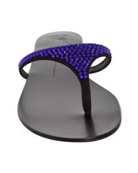 Giuseppe Zanotti | Electric Blue Crystal Thong Flat Sandals | Lyst