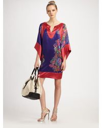 Halston | Purple Printed Tunic Dress | Lyst