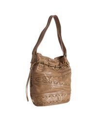 Kooba | Brown Taupe Leather Bryce Whipstitch Detail Bucket Bag | Lyst