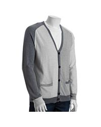 Marc By Marc Jacobs - Gray Quicksilver Melange Tonal Patchwork Cardigan Sweater for Men - Lyst