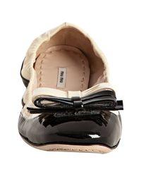 Miu Miu | Black Patent Two-tone Bow Flats | Lyst