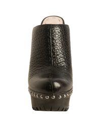 Miu Miu - Black Pebbled Leather Studded Platform Clog Mules - Lyst