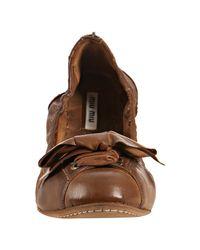 Miu Miu - Brown Coconut Distressed Leather Zip-back Bow Flats - Lyst