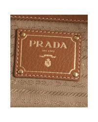 Prada - Brown Caramel Leather Vitello Daino Top Handle Bag - Lyst