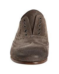 Prada - Gray Grey Suede Tooled Laceless Oxfords - Lyst