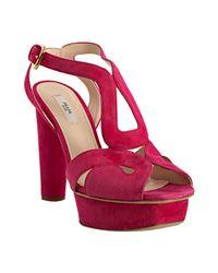 Prada | Pink Peony Suede Cutout Platform Sandals | Lyst