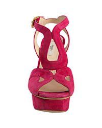 Prada - Pink Peony Suede Cutout Platform Sandals - Lyst