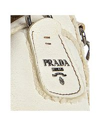 Prada - White Talc Leather Montone Studded and Dyed Sheep Shearling Satchel - Lyst