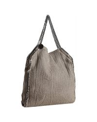 Stella McCartney - Natural Beige Cotton Tricot Falabella Chain Detail Tote - Lyst
