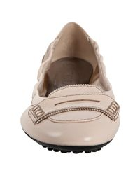 Tod's - White Beige Leather Ballerina Dee Bead Trim Flats - Lyst