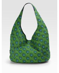 Tory Burch | Green Printed Braeden Canvas Hobo | Lyst